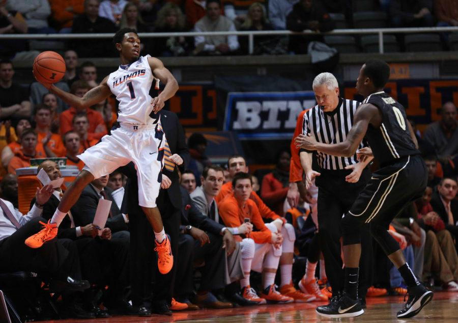 Illinois%27+Jaylon+Tate+%281%29+attempts+to+save+the+ball+from+going+out+of+bounds+during+the+game+against+Purdue+at+State+Farm+Center+on+Jan.+21%2C+2015.+The+Illini+won+66-57.