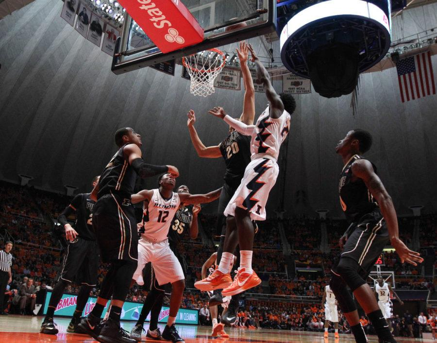 Illinois' Kendrick Nunn (25) attempts a shot during the game against Purdue at State Farm Center on Jan. 21, 2015. The Illini won 66-57.