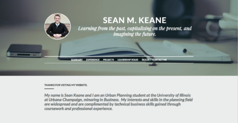 The online portfolio homepage of Sean Keane, senior in FAA.