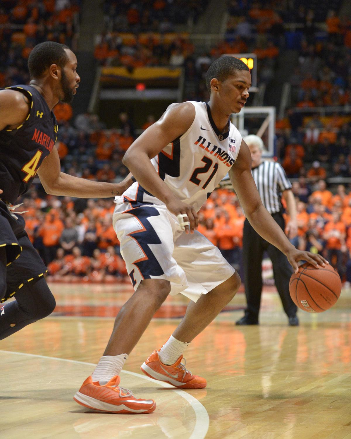 Illinois%27+Malcolm+Hill+keeps+control+of+the+ball+against+Maryland+at+State+Farm+Center+on+Wednesday.+The+Illini+won+64-57.+They%27ll+face+Nebraska+in+Lincoln+on+Sunday.%C2%A0