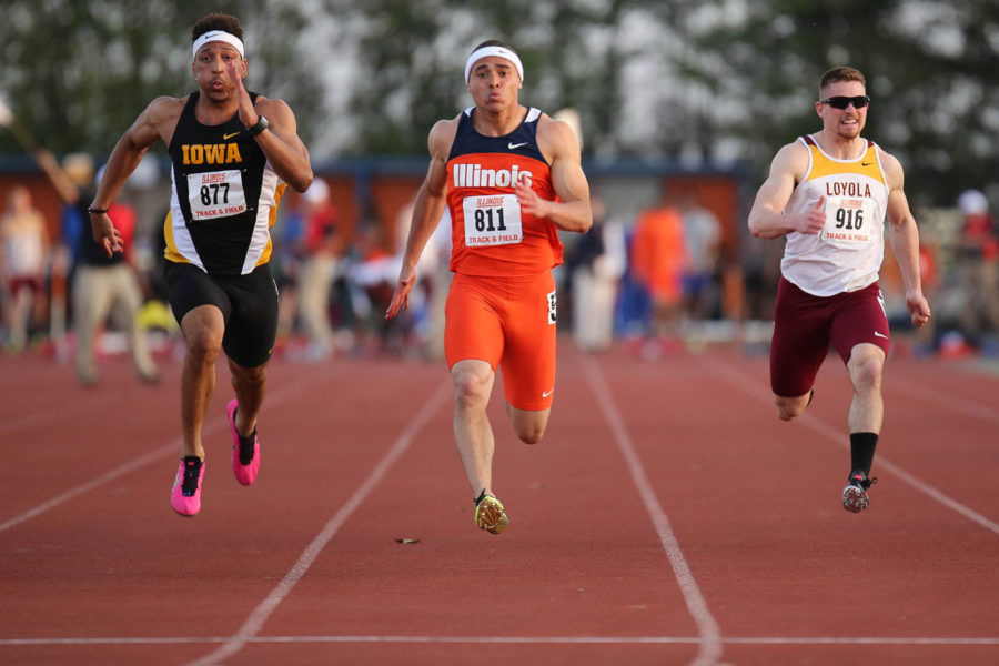 Illinois%E2%80%99+Brandon+Stryganek+runs+the+100+meter+dash+during+the+Illinois+Twilight+Track+and+Field+meet+at+Illinois+Soccer+and+Track+Stadium%2C+on+April+12.+The+Illini+won+their+second+straight+Illini+Classic+last+Saturday.