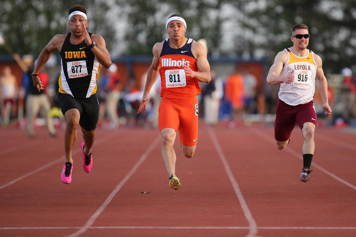 Illinois' Brandon Stryganek runs the 100 meter dash during the Illinois Twilight Track and Field meet at Illinois Soccer and Track Stadium, on April 12. The Illini won their second straight Illini Classic last Saturday.