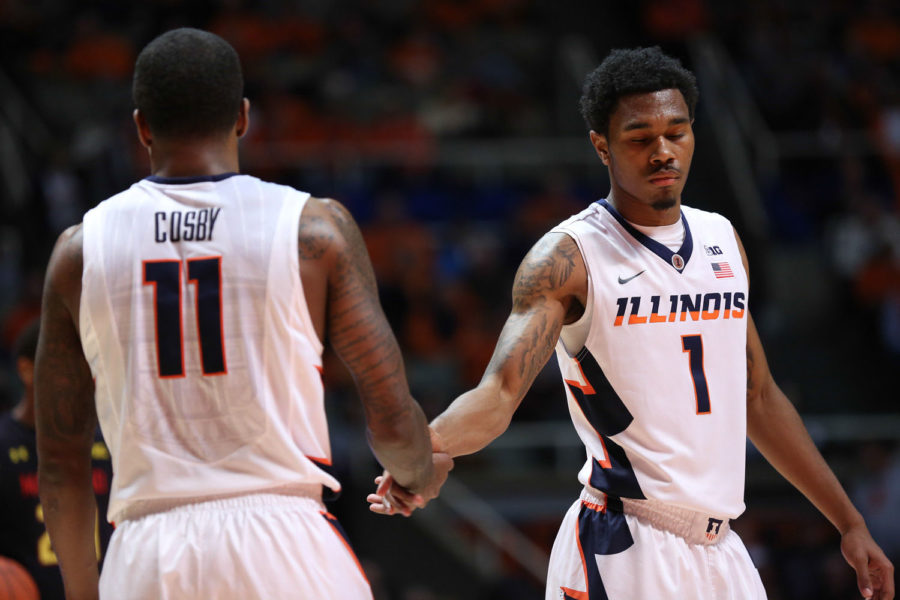 Illinois%27+Jaylon+Tate+%281%29+and+Aaron+Cosby+%2811%29+react+after+a+stoppage+in+play+during+the+game+against+Maryland+at+State+Farm+Center+on+Jan.+7%2C+2015.+The+Illini+won+64-57.