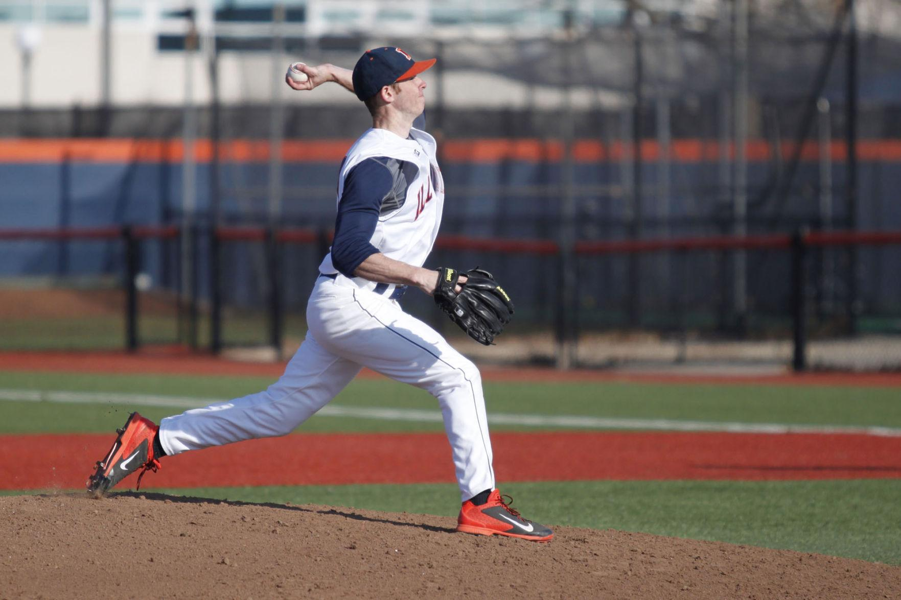 Illinois' Tyler Jay (11) pitches the ball during the game against Indiana State at Illinois Field on Mar. 18. The Illini's veteran team has led to high expectations for the upcoming season.