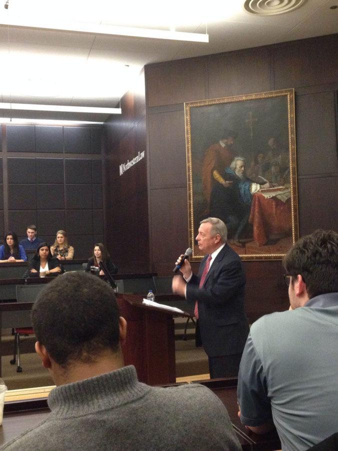 Senator Dick Durbin, one of the keynote speakers at ABTS Winter Conference, speaks.