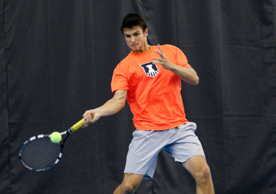 Illinois%27+Aleks+Vukic+returns+the+ball+during+the+tennis+game+vs.+Green+Bay+at+Atkins+Tennis+Center+on+Friday%2C+Jan.+23%2C+2015.+The+Illini+won+4-0.