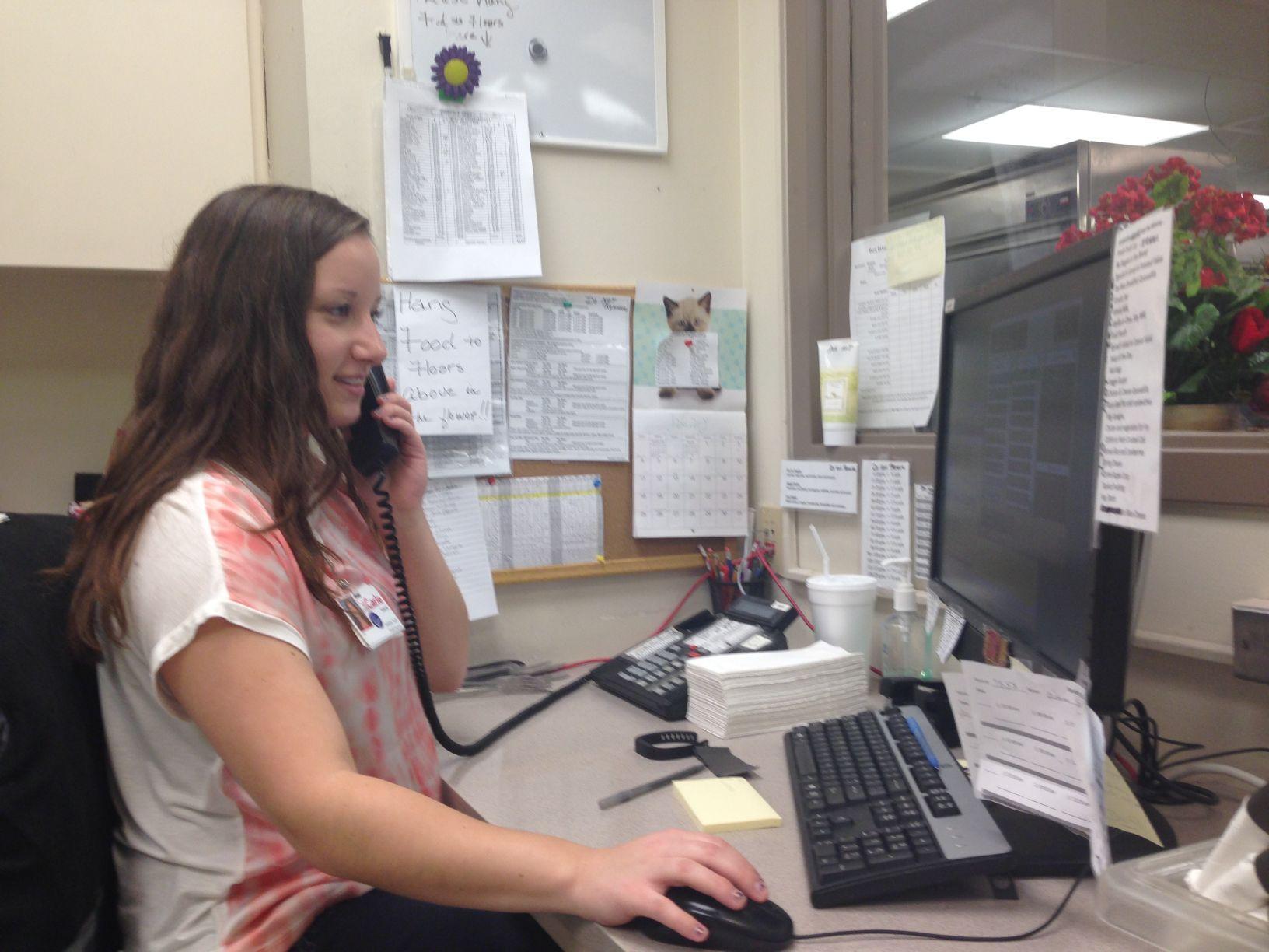 Laurel Jakubowski, senior in ACES, works at her job at Carle Foundation Hospital in Urbana, Illinois.