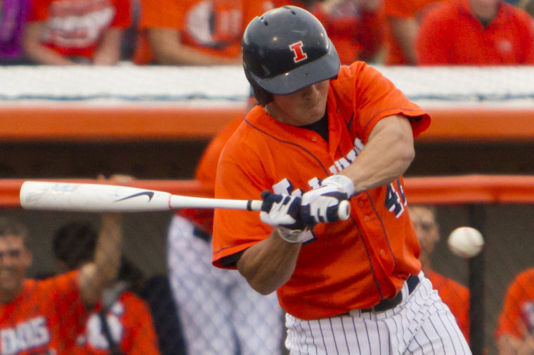The+Daily+Illini+Will+Krug+hits+the+ball+during+a+Illini+7-3+victory+over+Indiana+at+Illinois+Field+on+April+7%2C+2012.+Krug+is+entering+his+final+year+in+an+Illinois+uniform.