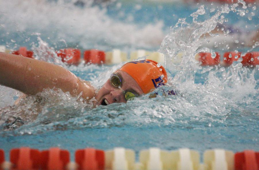 Illinois' Callan McDermott swims during the Annual Orange and Blue Meet at the ARC on Oct. 3. Callan, a senior, is enjoying her last season swimming with her younger sister, Sloane.