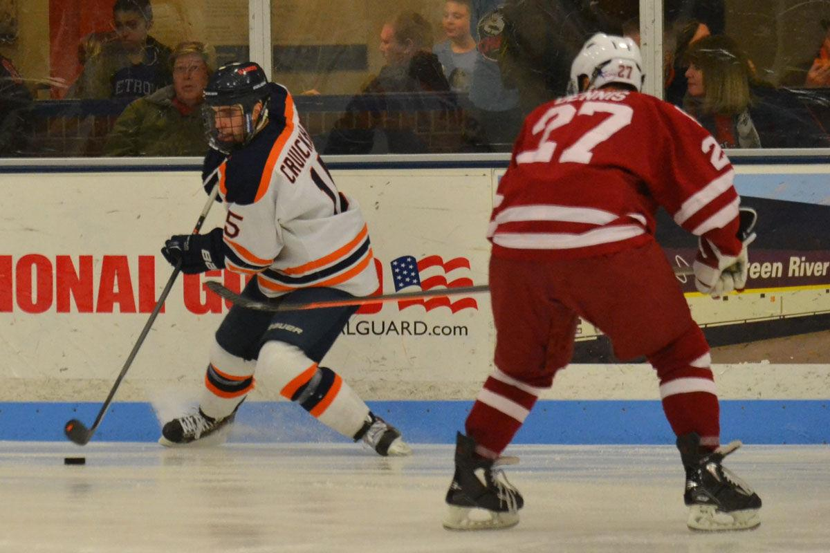 Cruikshank handles the puck during the game against Oklahoma on Saturday. It was the first of two wins against Oklahoma this weekend.