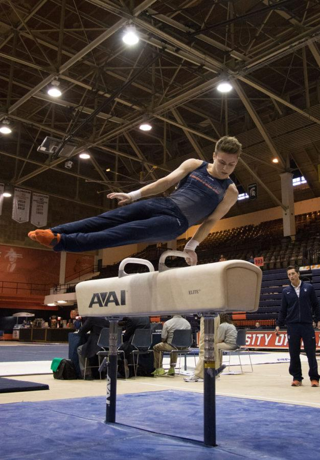 Illinois%E2%80%99+Bobby+Baker+performs+on+the+pommel+horse+on+Saturday.+He+won+the+all-around+title+with+his+score+of+89.550%2C+which+is+the+third-highest+in+team+history.