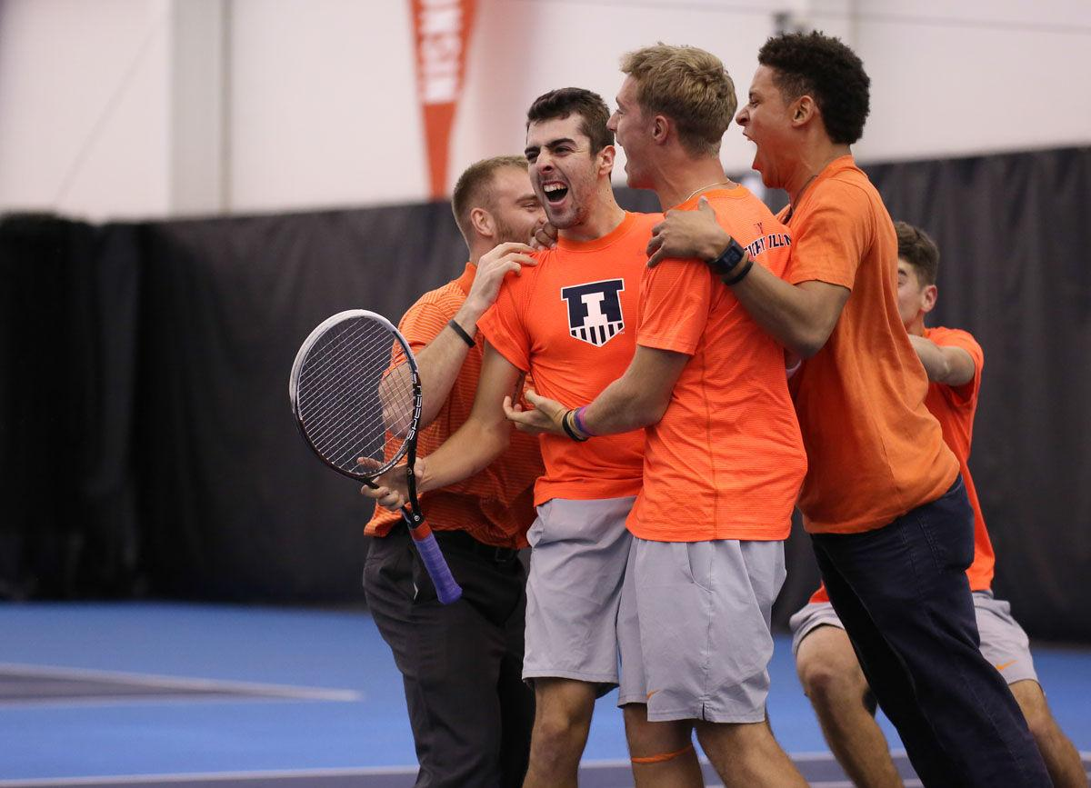 Illinois' Farris Gosea celebrates a comeback win during the match against No. 6 North Carolina at Atkins Tennis Center on Saturday. The Illini won 4-3.
