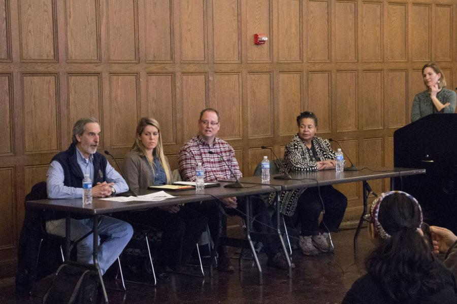 From left to right, speakers Rick Weinzierl, Natalie Marquez, Brad Uken and Dawn Blackman discuss food justice at the YMCA on Friday.
