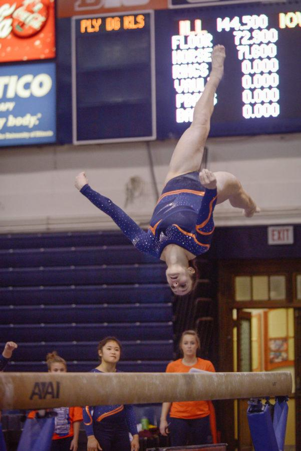 Illinois%E2%80%99+Giana+O%E2%80%99Connor+performs+a+routine+on+the+balance+beam+during+the+meet+against+Minnesota+at+Huff+Hall+on+Feb.7.+The+Illini+won+195.775-195.375.