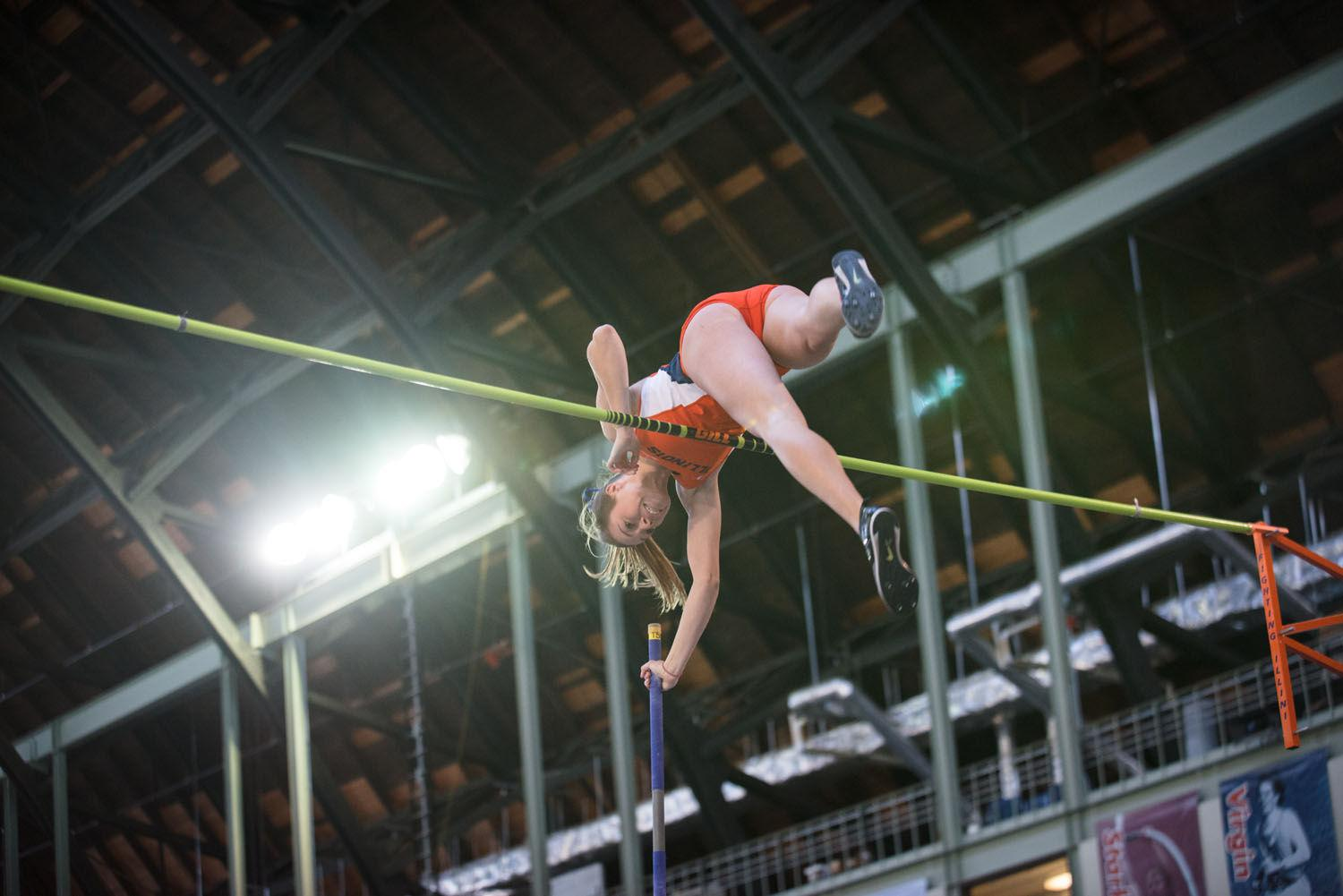 Stephanie Richartz releases the pole as she lifts past the bar to break her previous record with a height of 4.38 meters.