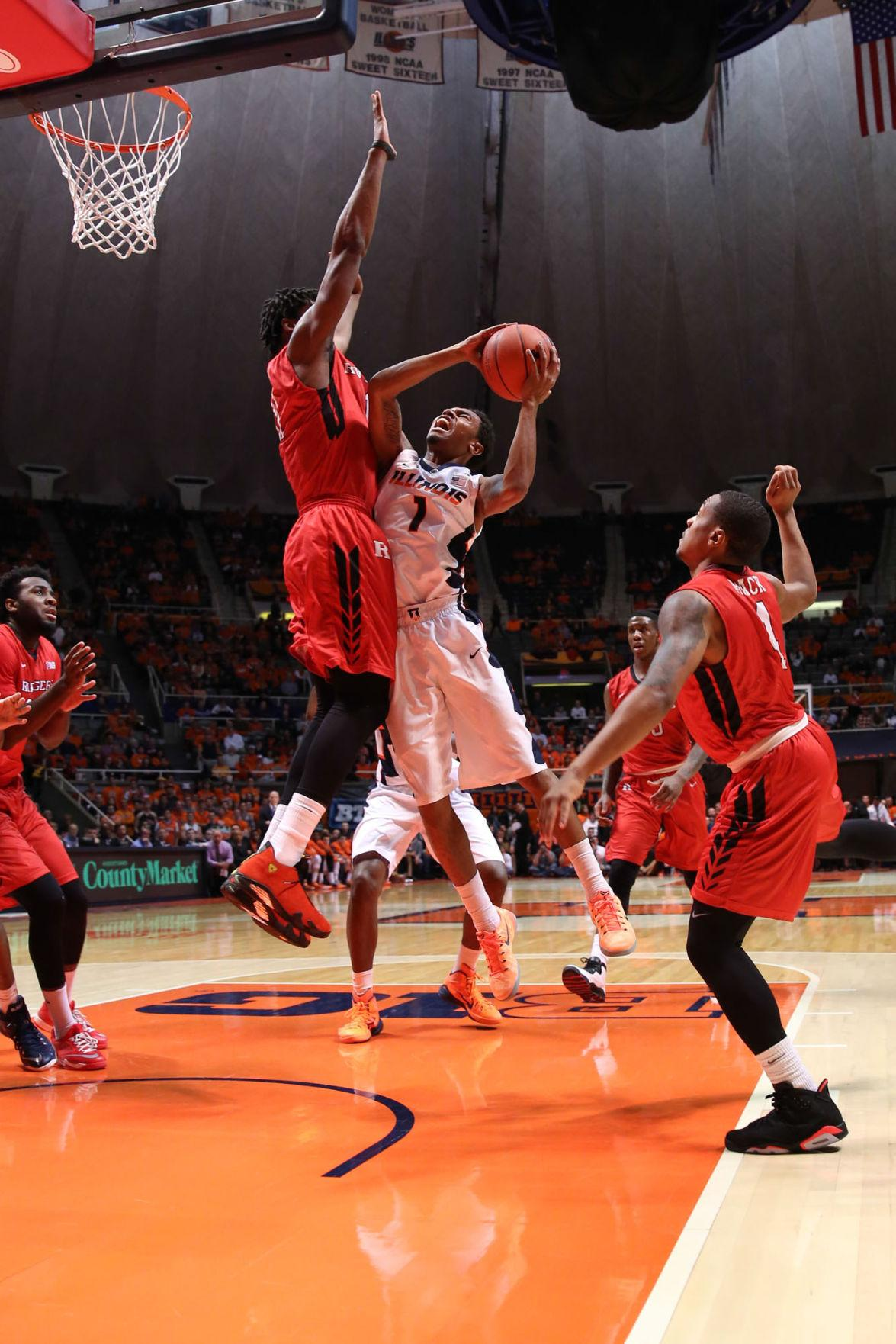 Illinois' Jaylon Tate goes up for a shot during the game against Rutgers at State Farm Center on Tuesday. Tate led the team with six assists.