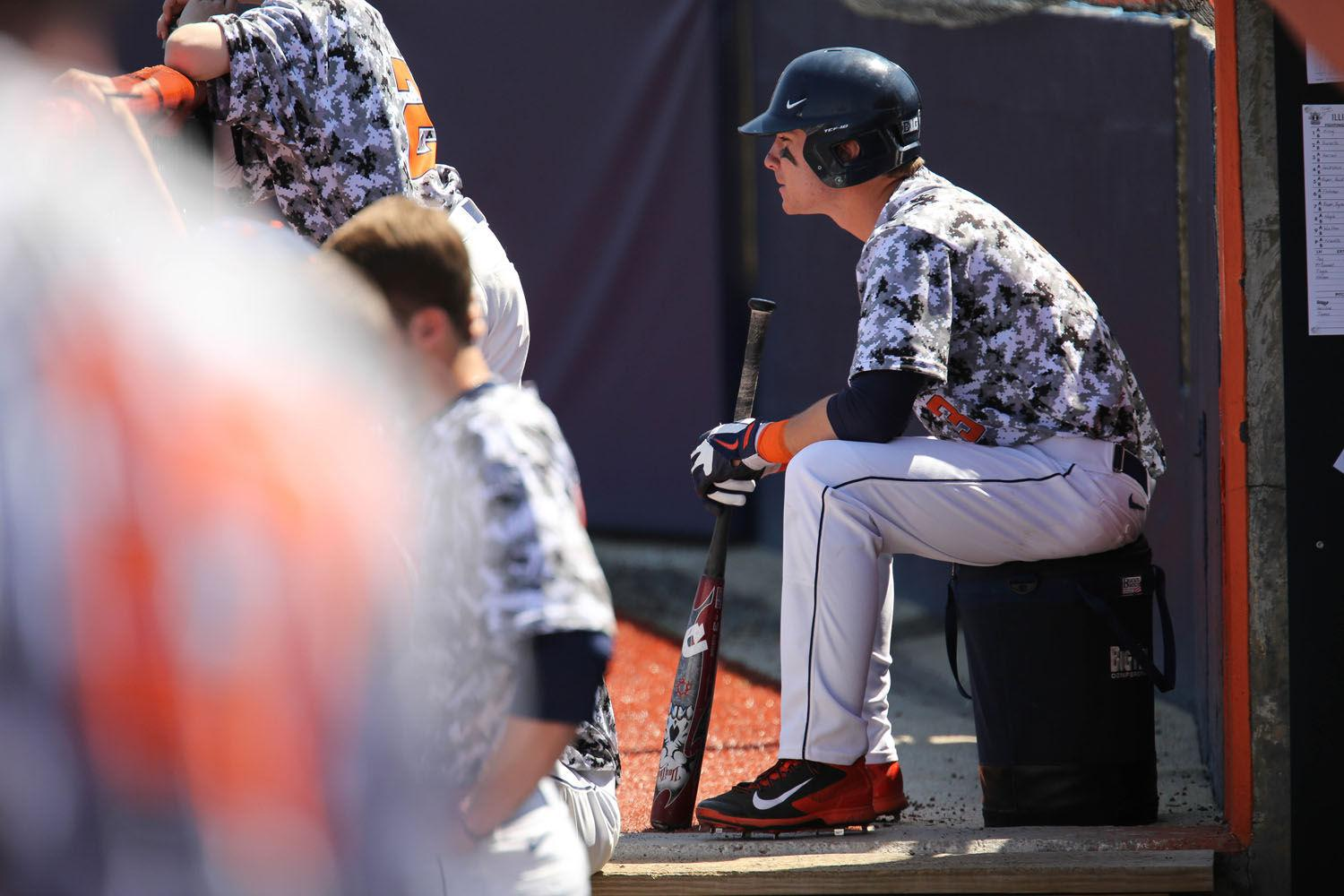 """Illinois' Casey Fletcher waits for his turn at bat during the game against Michigan State """"I felt like we had all the momentum after tying it in the ninth,"""" Fletcher said of Illinois' tie on Sunday to Florida Gulf Coast."""