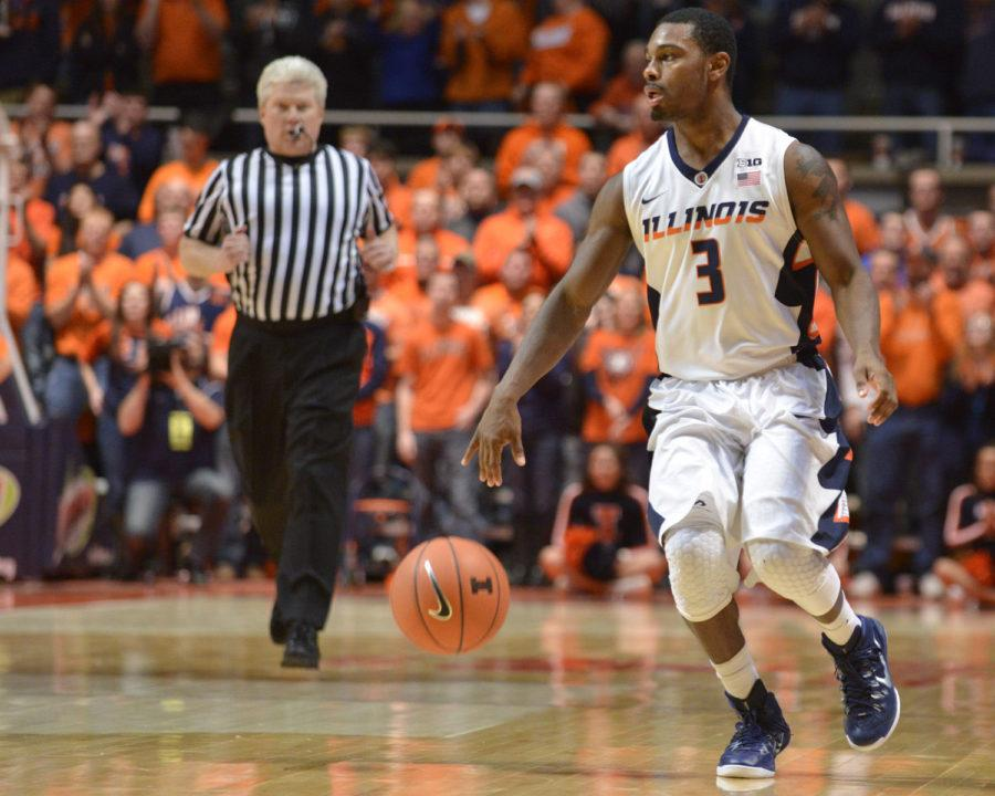 Illinois' Ahmad Starks (3) runs point during the game against Maryland at State Farm Center on Wednesday, Jan. 7, 2015. The Illini won 64-57.