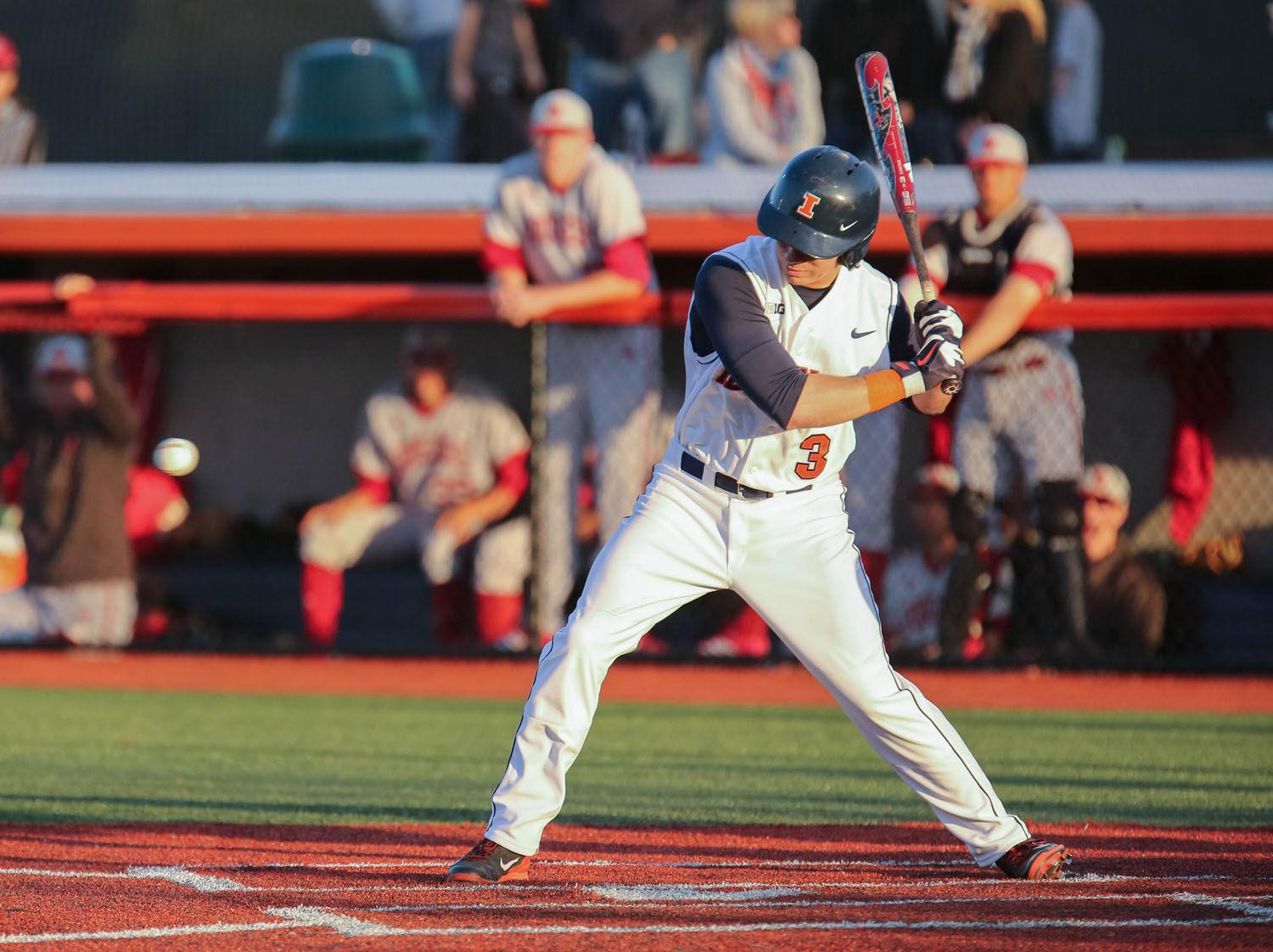 Illinois' Casey Fletcher (3) up at bat during the game against Indiana at Illinois Field on Friday, April 25, 2014. The Illini lost 9-3