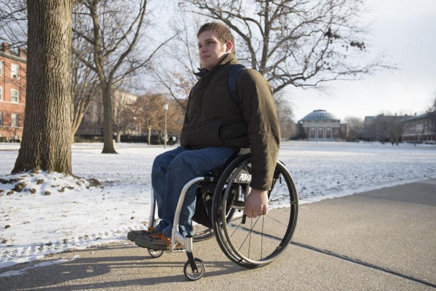 Tim+Nagel%2C+junior+in+AHS%2C+is+one+of+many+students+in+wheelchairs+who+struggle+with+bad+weather.