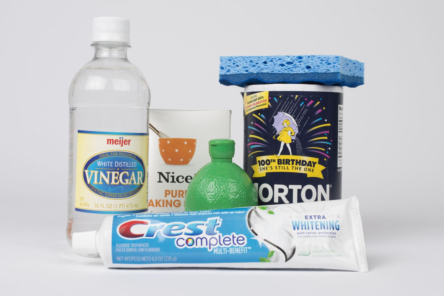 Vinegar, salt and toothpaste are a few examples of common household items that can be used for spring cleaning purposes.