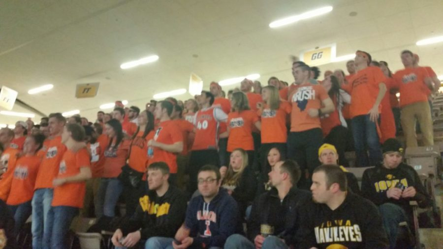 Iowa fans weren't too thrilled when Orange Krush members pulled off their black and yellow garb to reveal orange at Carver-Hawkeye Arena in Iowa City, Iowa, on Wednesday. Krush chose Thursday's game against the Hawkeyes for its annual road trip.