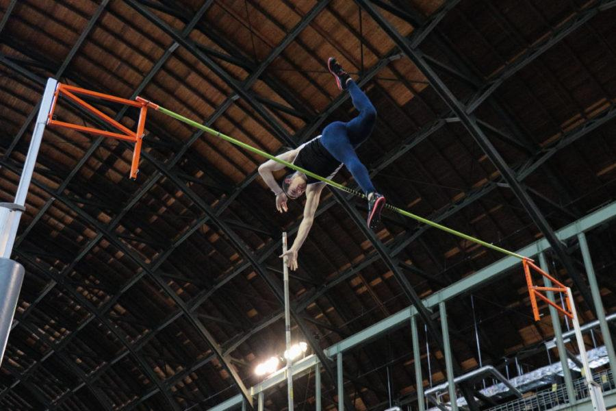Illinois Blaze Galardy attempts to avoid the pole during the Mens Pole Vault event at the Orange & Blue meet at the Armory on Saturday, Feb. 21, 2015. Illinois mens team won 1st place out of 4.