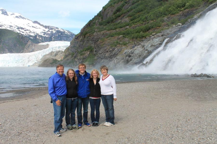 Claire Hettinger and family near the Mendenhall Glacier and Waterfall near Juneau, Alaska, during their vacation in 2012.