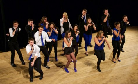 No Comment performs at the Midwest Quarterfinal of the International Championship of Collegiate A Cappella competition, which the group won, on Jan. 24.