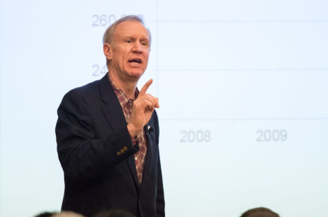 Illinois governor Bruce Rauner speaks at the I-Hotel Ballroom on Thursday, Jan. 29, 2015. Rauner wrote a memo to the Board of Trustees encouraging them to reject a raise for Phyllis Wise.