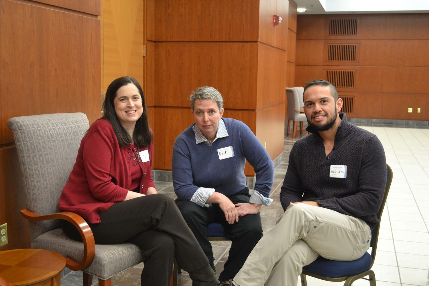 Co-Chairs Julie Dowling, Department of Latino/Latina Studies, Cris Mayo, of the College of Education, and Alejandro Gomez Vice-Chair of the Committee from the Counseling Center, organized a round-table discussion on issues impacting the LGBT community at the Alice Campbell Alumni Center on February 20.