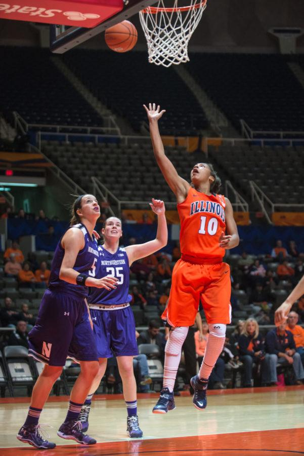 Illinois' Amarah Coleman attempts a layup during the game versus Northwestern at the State Farm Center on Jan. 22.