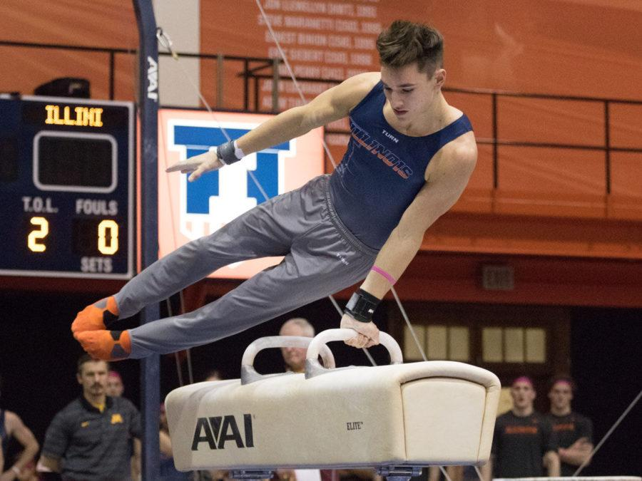 Illinois%E2%80%99+Matt+Foster+performs+on+the+pommel+horse+during+the+gymnastics+match+vs.+Minnesota+at+Huff+Hall+on+Saturday.+The+pommel+horse+event+was+a+turning+point+for+the+Illini+as+they+went+on+to+win.