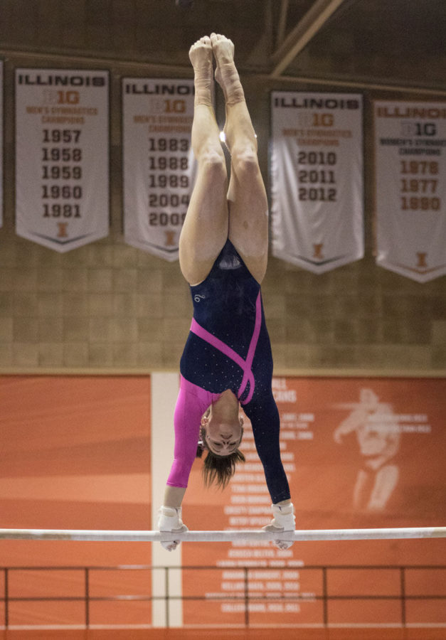 Illinois%E2%80%99+Giana+O%E2%80%99Connor+spins+on+the+high+bar+during+the+uneven+bars+event+at+the+match+vs.+Penn+State+at+Huff+Hall+on+Saturday.+O%E2%80%99Connor+scored+a+9.775+on+the+event.+Illinois+won+the+match+196.400-195.600.