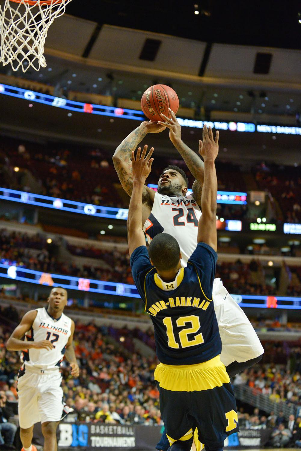 Illinois' Rayvonte Rice shoots the ball during the game against Michigan at United Center in Chicago, Illinois, during the Big Ten Tournament on Thursday. The Illini lost 73-55, sending them to the National Invitational Tournament for the second year in a row.