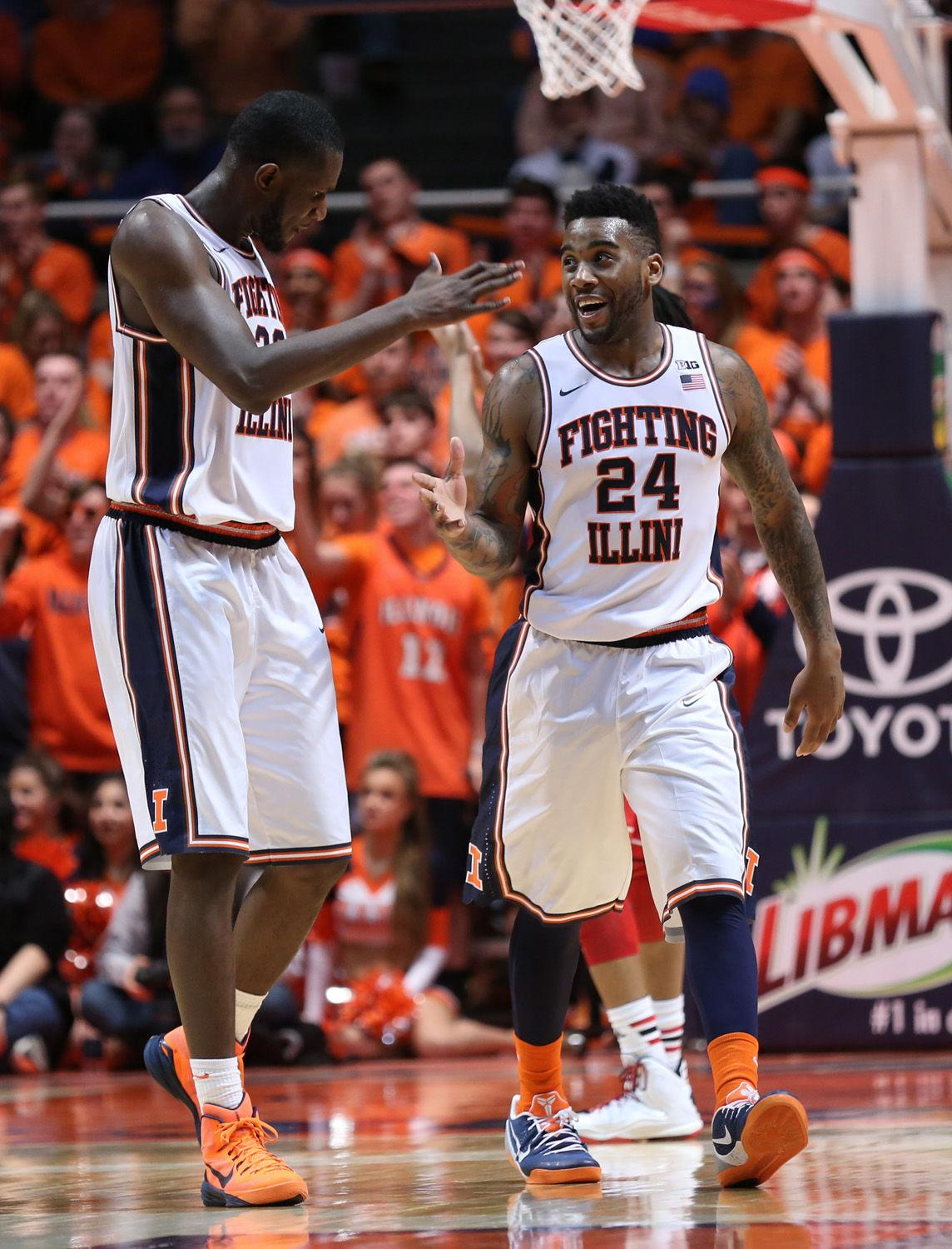 Illinois' Nnanna Egwu (32) and Rayvonte Rice (24) react after a point during the game against Nebraska at State Farm Center, on Wednesday, March 5, 2015. The Illini won 69-57.