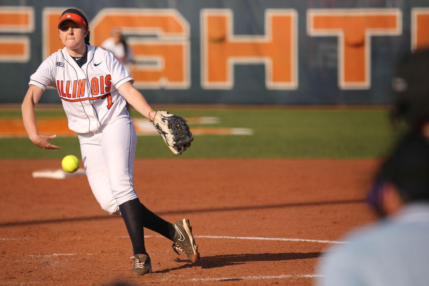 Illinois' Jade Vecvanags pitches during the game against Northwestern on April 22, 2014. Vecvanags' best outing of the season was cut short due to a travel curfew.