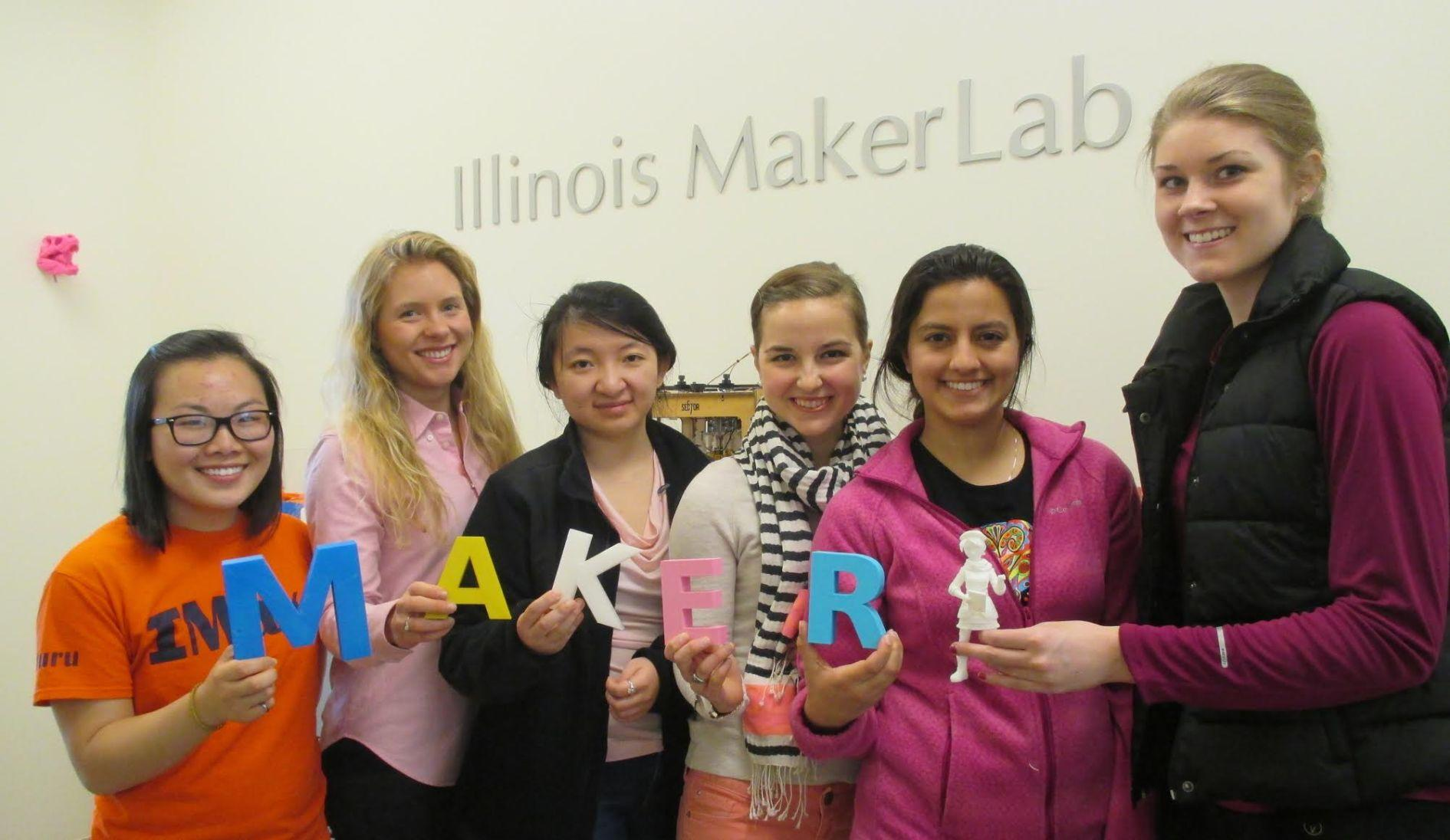 Winnie Yang, Julia Haried, Sophie Li, Elizabeth Engele, Sona Kaul and Caitlyn Deegan, members of the MakerGirl team, pose for a photograph in the Illinois MakerLab.