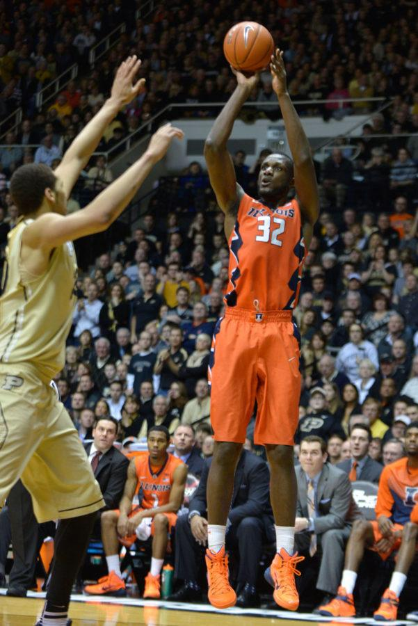 Illinois' Nnanna Egwu takes a shot during the game against Purdue at Mackey Arena in West Lafayette, Indiana on Saturday. The Illini lost 63-58.
