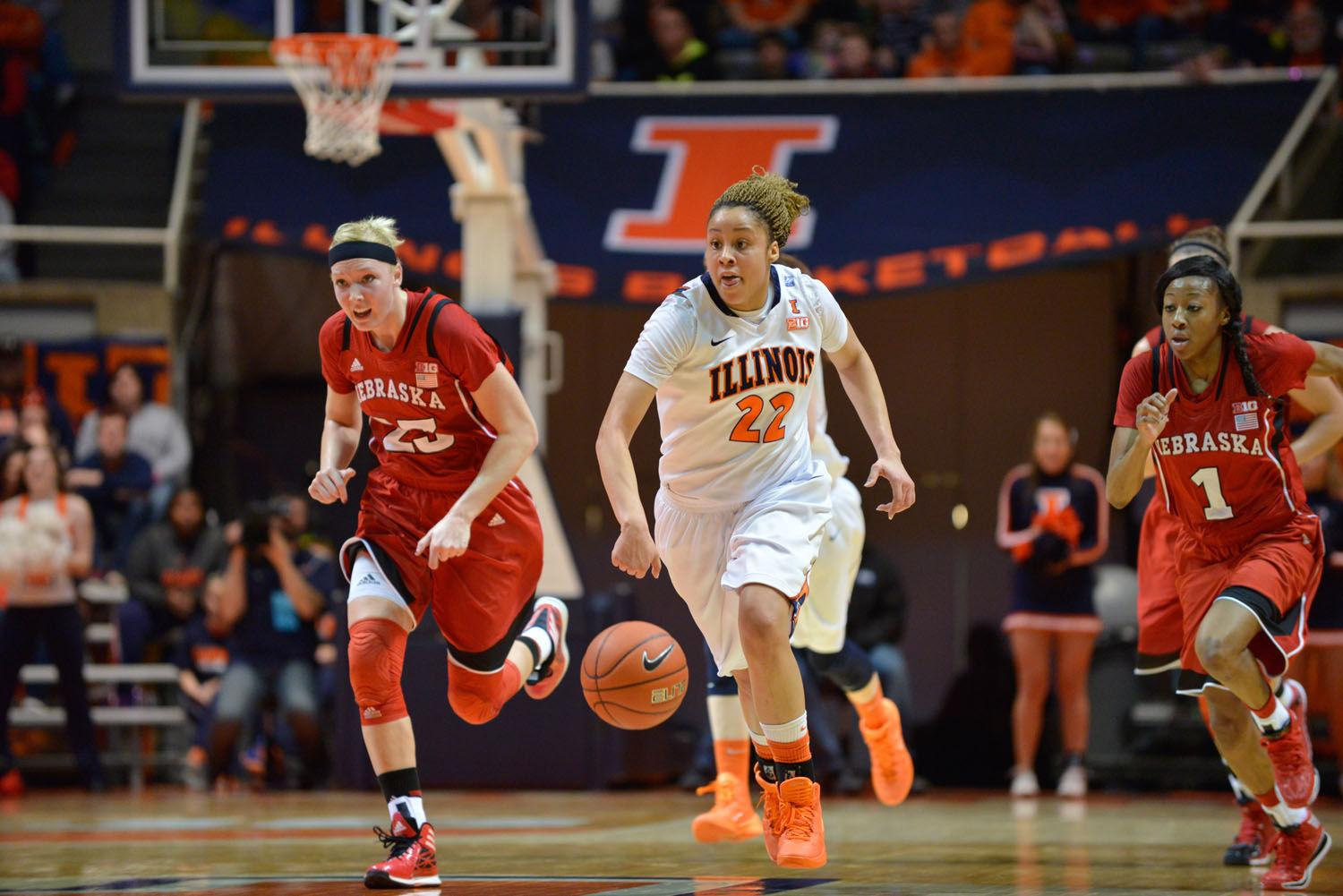 Illinois' Ivory Crawford dribbles the ball during the game against Nebraska on Jan. 12, 2014. The senior could play in the final game of her Illini career in the Big Ten tournament.