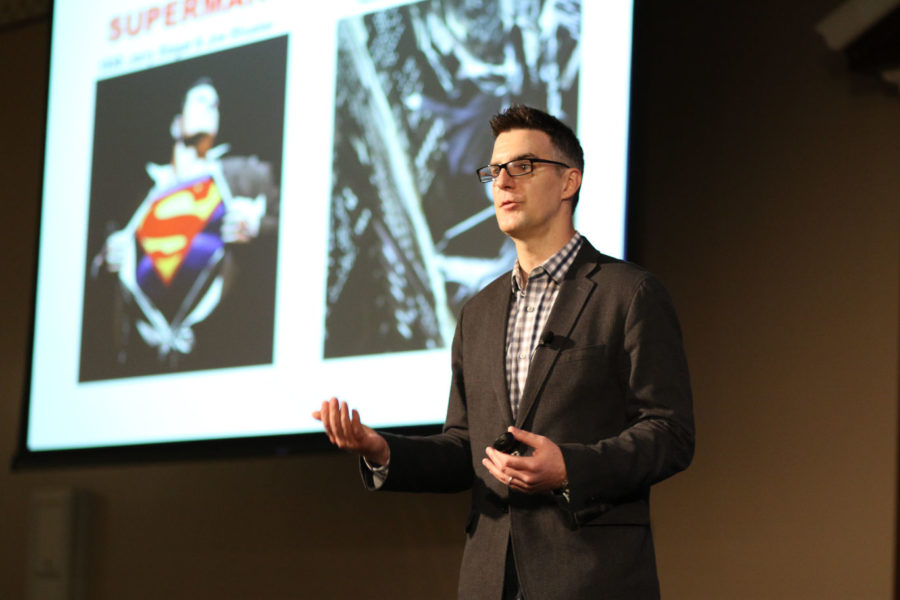 Bill Rosemann, Creative Director at Marvel Comics, talks about Marvel's superheroes and how they're connected to people's lives at the Illini Union I-Rooms on Tuesday, Mar. 17, 2015.