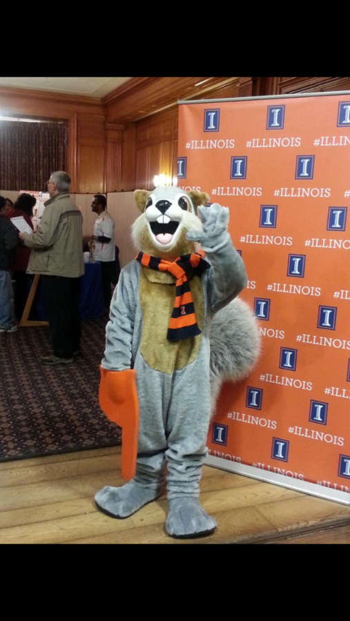 A squirrel greets future Illini at an Admitted Student Day on March 9.