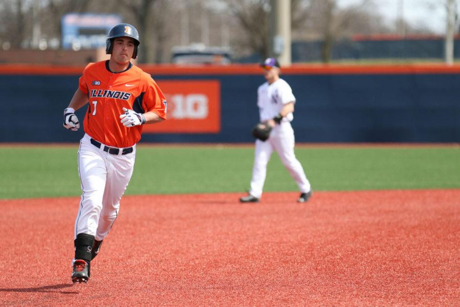Illinois%E2%80%99+Reid+Roper+runs+the+bases+after+hitting+a+home+run+during+the+game+against+Northwestern+at+Illinois+Field+on+Sunday.+A+strong+performance+at+the+plate+lead+to+Sunday%E2%80%99s+17-12+win+and+solidified+Illinois%E2%80%99+series+sweep.