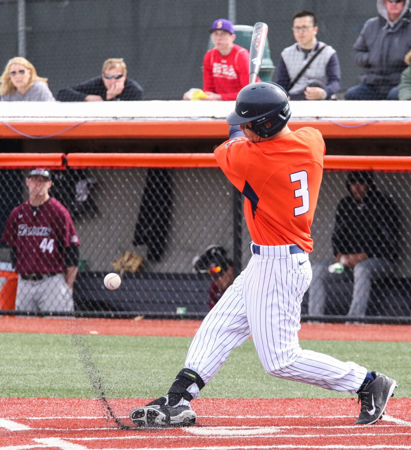 Illinois' Casey Fletcher (3) fouls the ball during the baseball game v. SIU at Illinois Field on Saturday. Illinois won 6-2. Fletcher scored a home run Sunday that gave the Illini a lead.