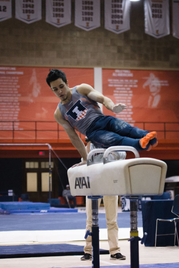 Illinois%E2%80%99+C.J.+Maestas+performs+a+routine+on+the+pommel+horse+during+the+meet+against+Stanford+at+Huff+Hall+on+Friday.+The+Illini+lost+21-9+but+won+against+Nebraska+on+Sunday.