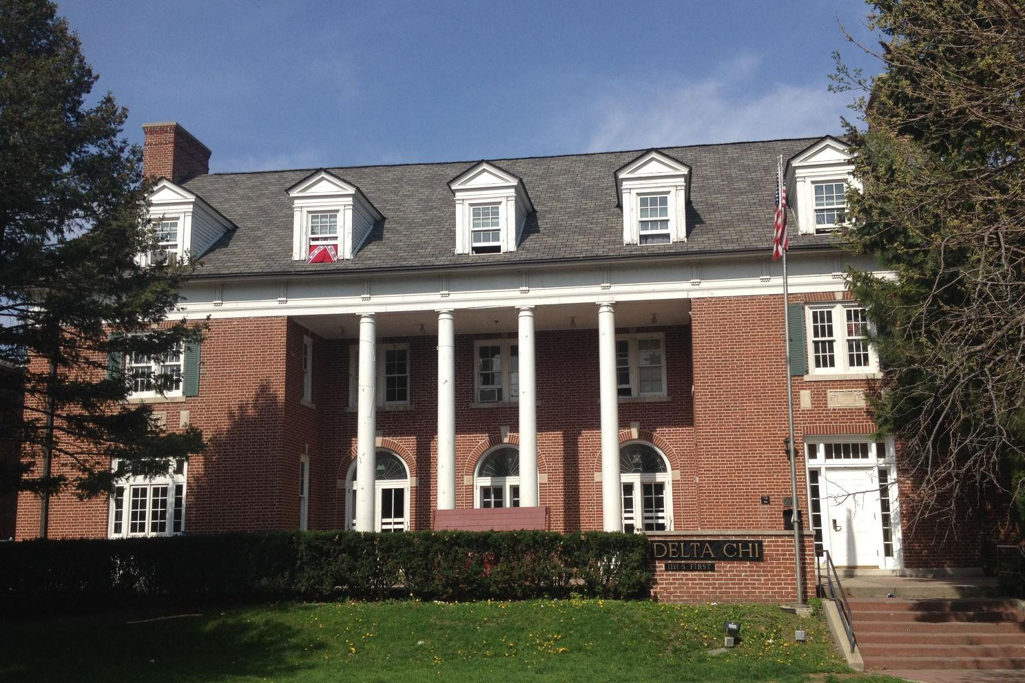 A Confederate flag hung in the window of the Delta Chi fraternity on First Street last May.