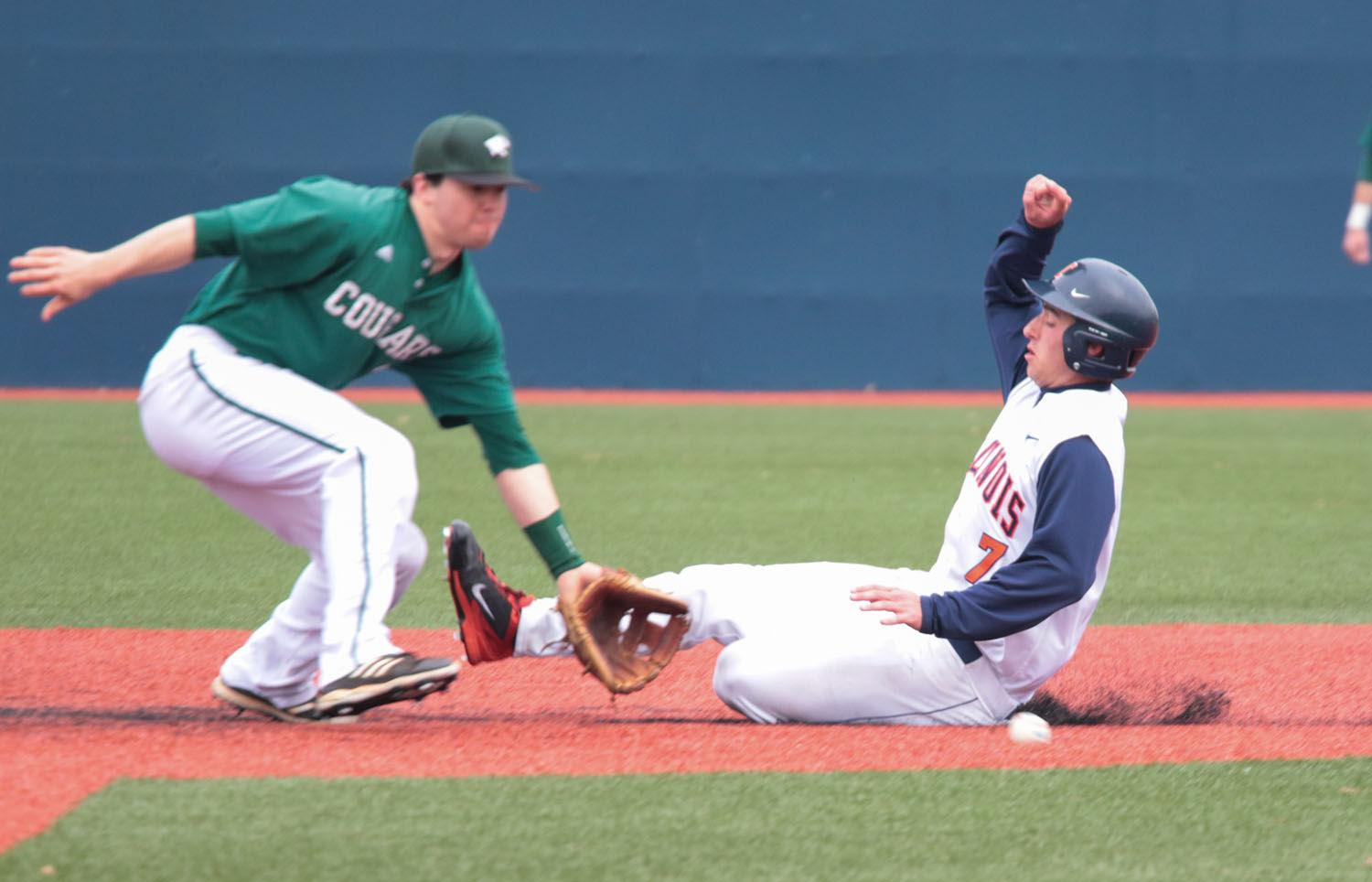 Illinois' Reid Roper slides for second base during the baseball game v. Chicago State at Illinois Field on Tuesday. Illinois won 7-3.