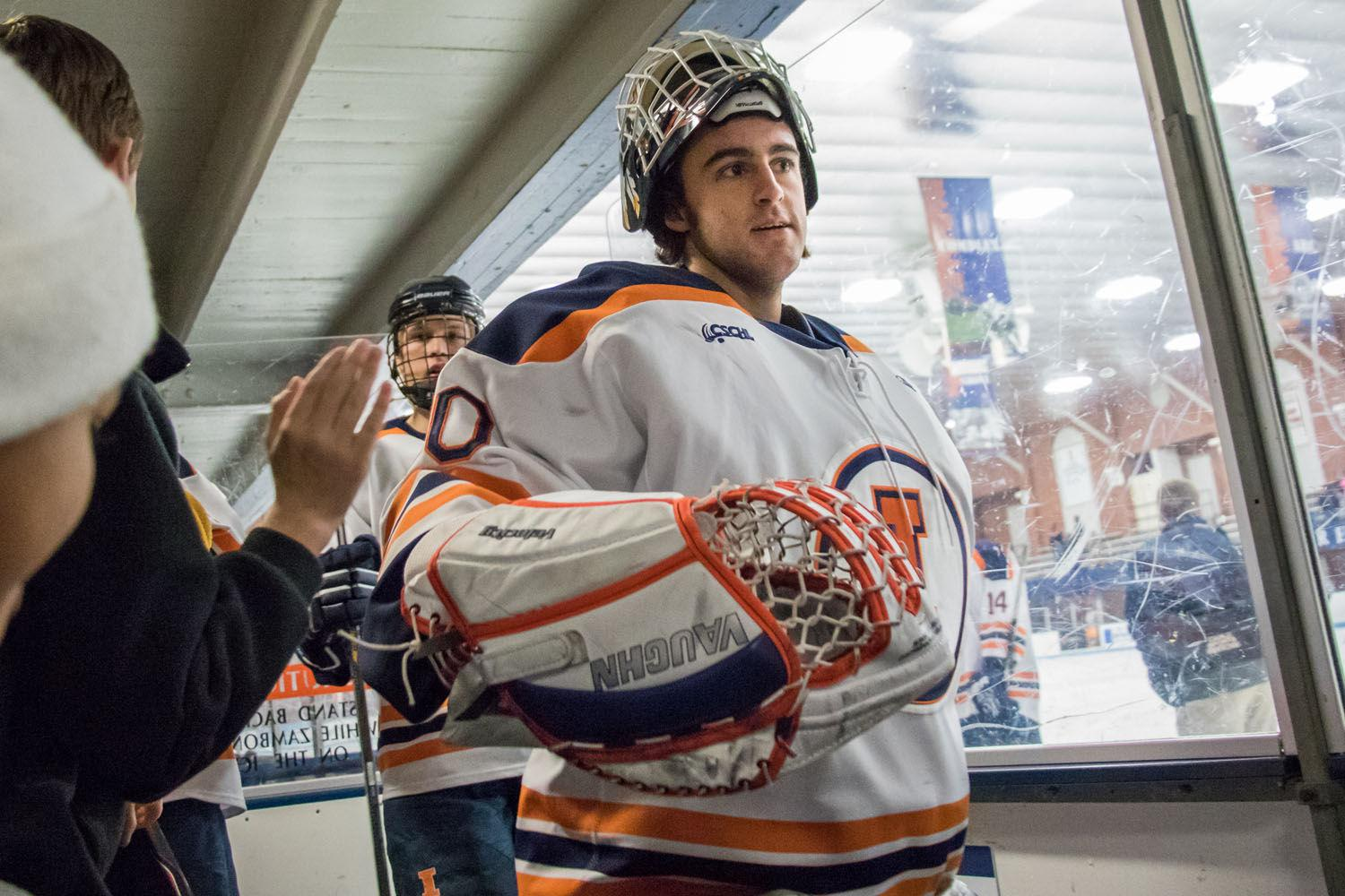 Illinois' Zachary Danna returns to the locker room after the hockey game v. Eastern Michigan at the Ice Arena on Feb. 27. Illinois won 10-1.