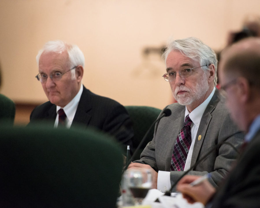 President-elect+Timothy+L.+Killeen+listens+intently+during+the+board+of+trustees+meeting+at+the+Illini+Union+on+Thursday.
