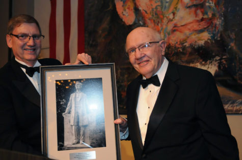 "Richard Thies, a lawyer from Urbana, accepts the ""Lincoln the Lawyer"" Award by The Abraham Lincoln Association on Feb. 12."